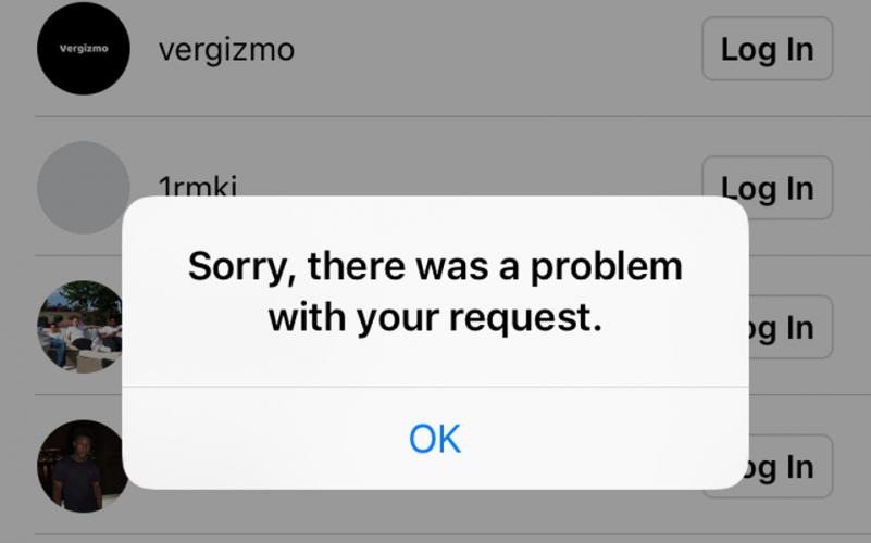 """risolvere Instagram """"Spiacenti, si è verificato un problema con la tua richiesta"""""""